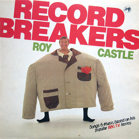 Record Breakers LP cover - Roy Castle in a giant suit