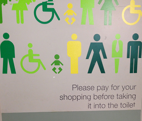 You simply must pay for your shopping before taking it to the toilet.