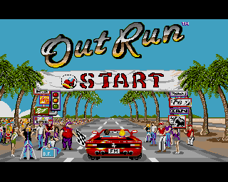 Out Run, Amiga version. Tyres from BTMR, Tyres R Us, Brookvale Trading Estate