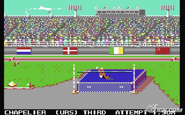 Summer Games 2, C64. A chap has a lie down on a mattress dumped outside Holford Way tip.